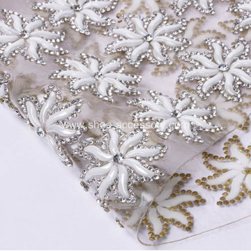 Crystal Rhinestone Mesh with Ceramic Flower Design